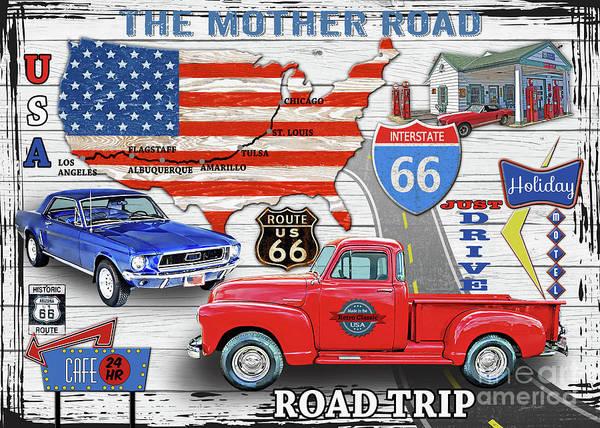 Wall Art - Digital Art - American Highways-route 66 by Jean Plout