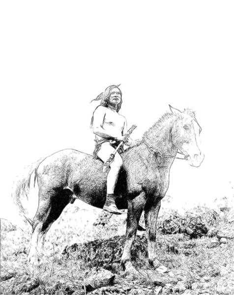 Drawing - American Indian by Ericamaxine Price