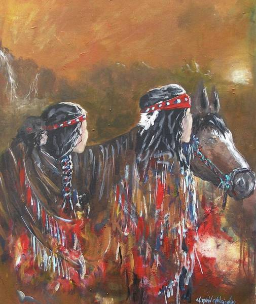 Painting - American Indians Family by Miroslaw  Chelchowski
