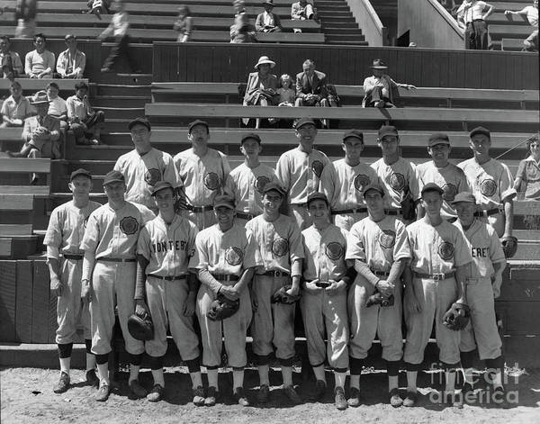 Photograph - American Legion Baseball Team At Jacks Park Monterey 1949 by California Views Archives Mr Pat Hathaway Archives