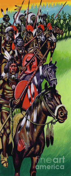 Wall Art - Painting - American Native Indians Gather For War by Ron Embleton