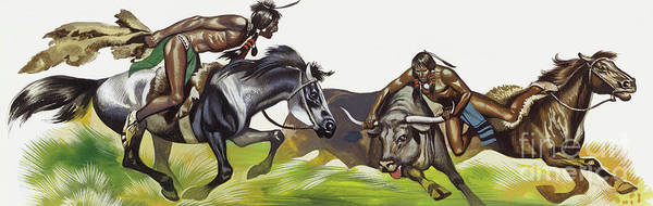 Wall Art - Painting - American Native Indians by Ron Embleton