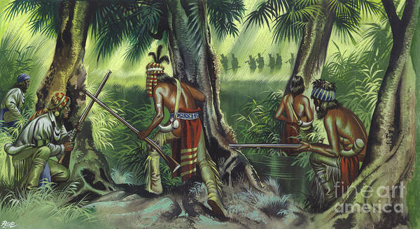 Braves Painting - American Native Indians Tracking British Soldiers by Ron Embleton