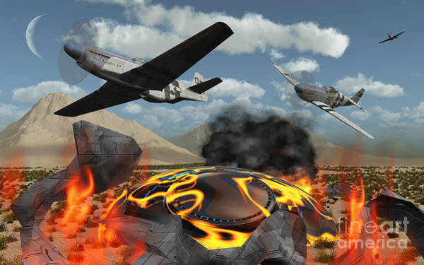 Debris Digital Art - American P-51 Mustang Fighter Planes by Mark Stevenson