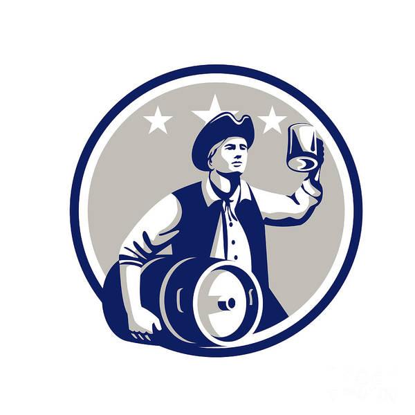 Drum Circle Wall Art - Digital Art - American Patriot Carry Beer Keg Circle Retro by Aloysius Patrimonio