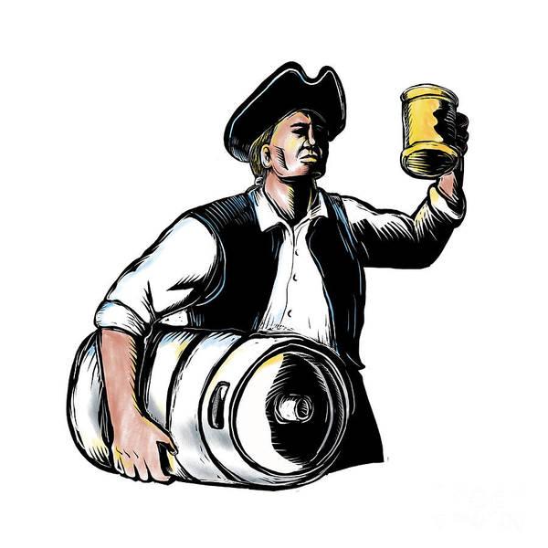 Scratchboard Wall Art - Digital Art - American Patriot Carry Beer Keg Scratchboard  by Aloysius Patrimonio