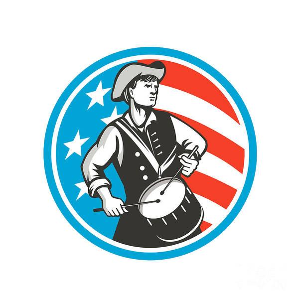 Drum Circle Wall Art - Digital Art - American Patriot Drummer Usa Flag Circle Retro by Aloysius Patrimonio
