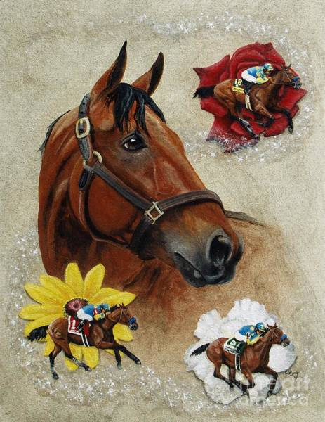 Wall Art - Painting - American Pharoah 12th Triple Crown Champion by Pat DeLong
