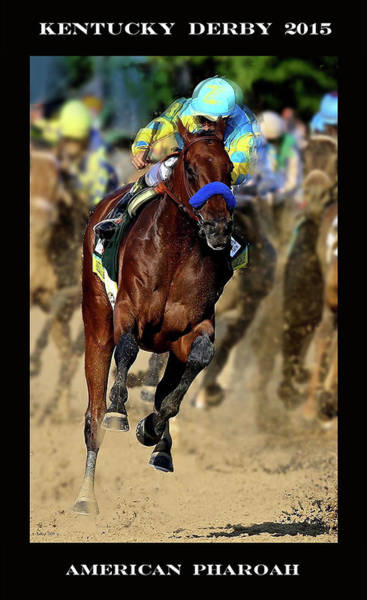 St Louis Cardinals Mixed Media - American Pharoah And Victor Espinoza, Turning For Home In The 141st Running Of The Kentucky Derby, C by Thomas Pollart