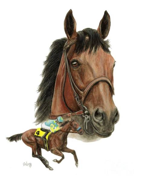 Wall Art - Painting - American Pharoah Grand Slam Champ by Pat DeLong