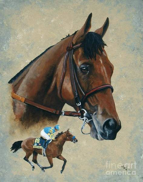 Thoroughbred Racing Wall Art - Painting - American Pharoah by Pat DeLong