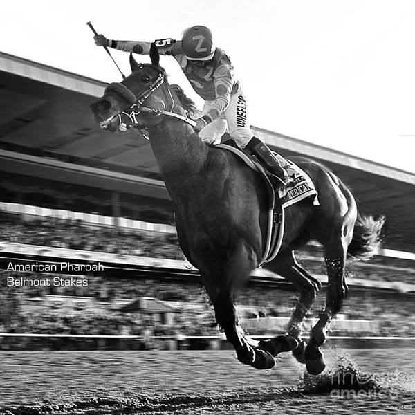 St Louis Cardinals Mixed Media - American Pharoah With Victor Espinoza  Winning The 2015 Belmont Stakes, Triple Crown by Thomas Pollart