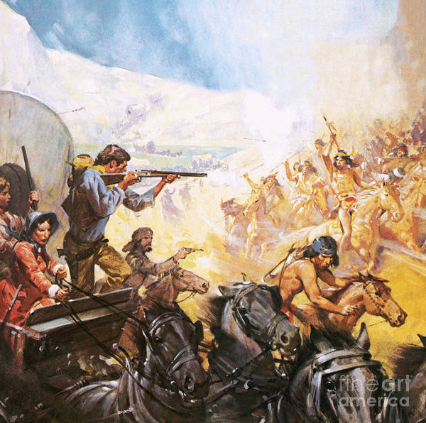 Wall Art - Painting - American Pioneers Shooting Red Indians by James Edwin McConnell