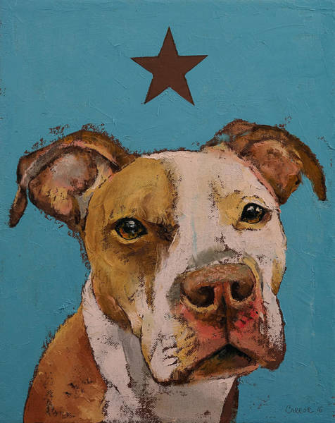 Hund Wall Art - Painting - American Pit Bull by Michael Creese