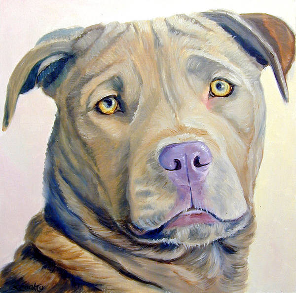 Wall Art - Painting - American Pitbull Terrier by Lyn Cook