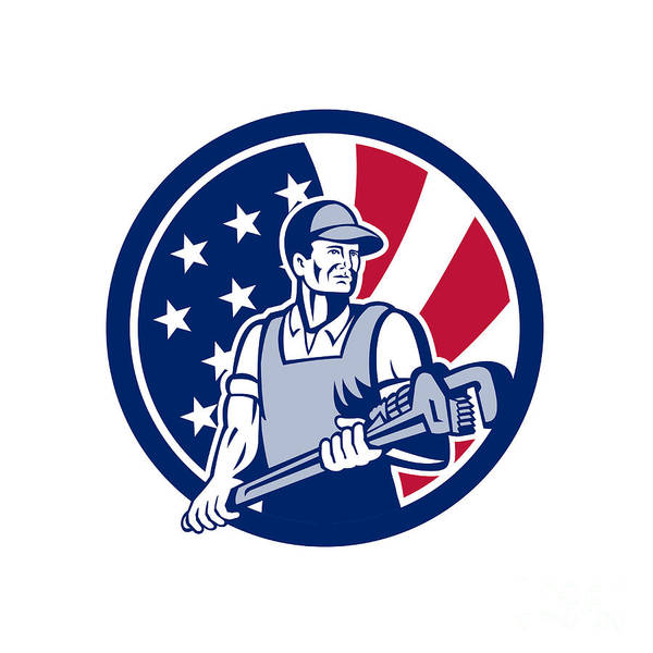 Wall Art - Digital Art - American Plumber And Pipefitter Usa Flag Icon by Aloysius Patrimonio