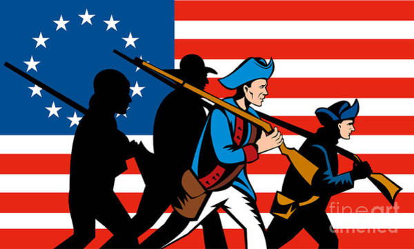 Ross Digital Art - American Revolutionary Soldier Marching by Aloysius Patrimonio