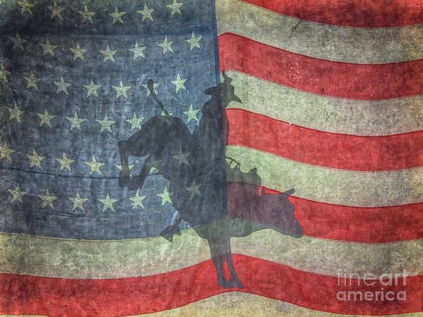 Bucking Bronco Digital Art - American Rodeo Bull Riding by Randy Steele