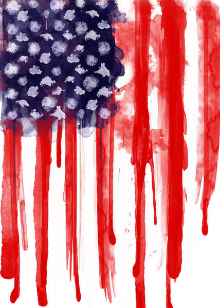 Watercolor Painting - American Spatter Flag by Nicklas Gustafsson
