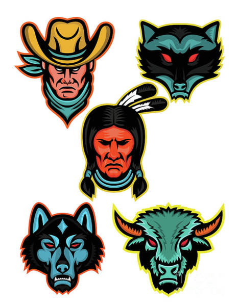 Timber Wolves Digital Art - American Sports Mascot Series Collection by Aloysius Patrimonio