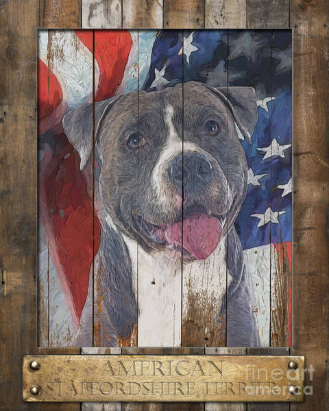 Digital Art - American Staffordshire Terrier Flag Poster 2 by Tim Wemple