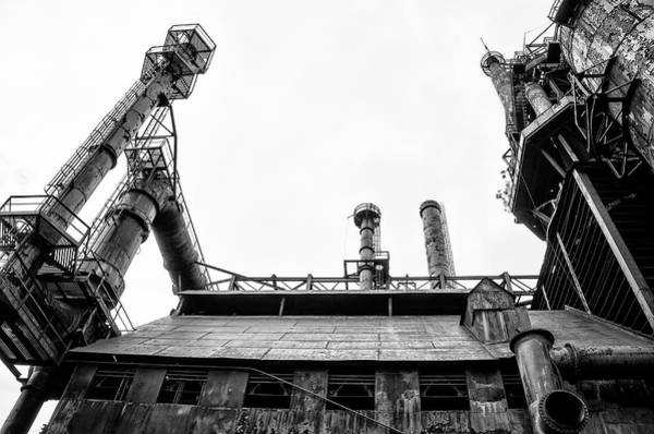 Photograph - American Steel - Bethlehem Steel Mill In Black And White by Bill Cannon