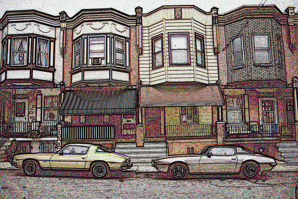 Drawing - American City Street Architecture by Peter Potter