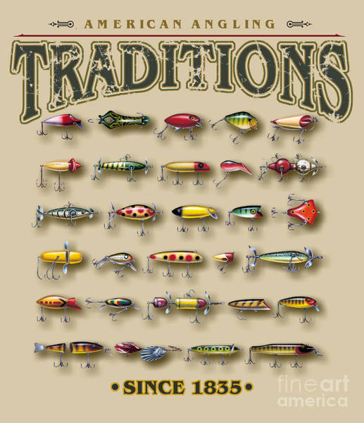 Painting - American Traditions Lures by JQ Licensing