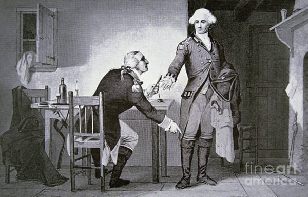 Wall Art - Drawing - American Traitor General Benedict Arnold Instructing Andre To Hide Papers In His Boot  by American School