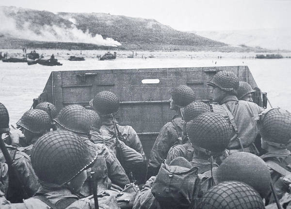 D Day Photograph - American Troops In Landing Craft Head For Omaha Beach, 6th June 1944 by American School
