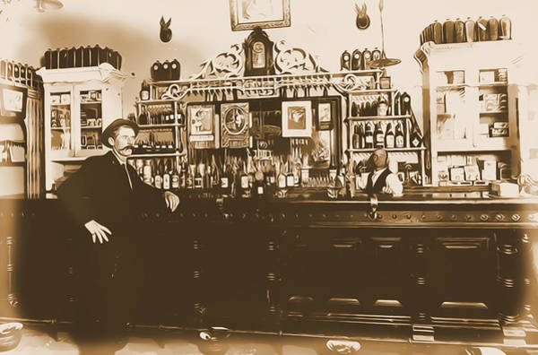 Whiskey Mixed Media - American West Historical Saloon by Dan Sproul