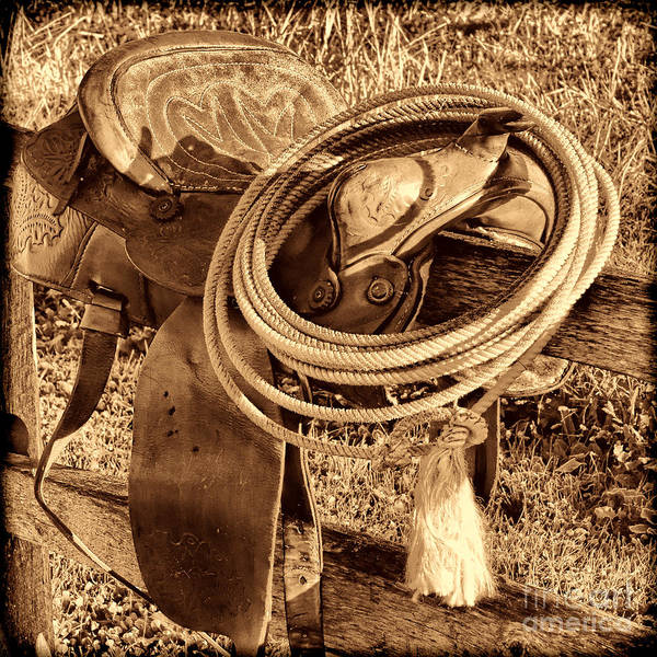 Photograph - American West Legend Rodeo Western Lasso On Saddle by American West Legend By Olivier Le Queinec