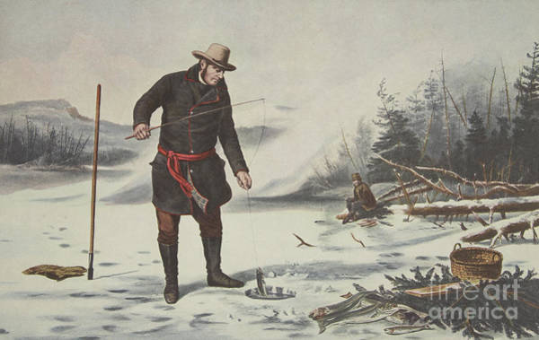 Currier And Ives Wall Art - Drawing - American Winter Sports  Trout Fishing On Chateaugay Lake by Currier and Ives