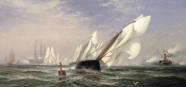 1871 Painting - American Yacht Sappho Winning The Race With The English Yacht Livonia For The Americas Cup by Edward Moran