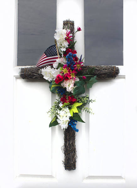 Photograph - Cross And Flowers - Americana Series 06 by Carlos Diaz