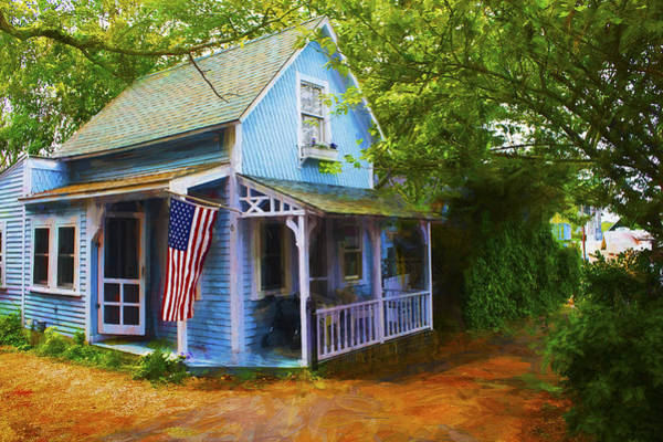 Photograph - Blue House - Americana Series 8 by Carlos Diaz