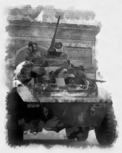 Tank Painting - Americans In Paris Wwii by Esoterica Art Agency
