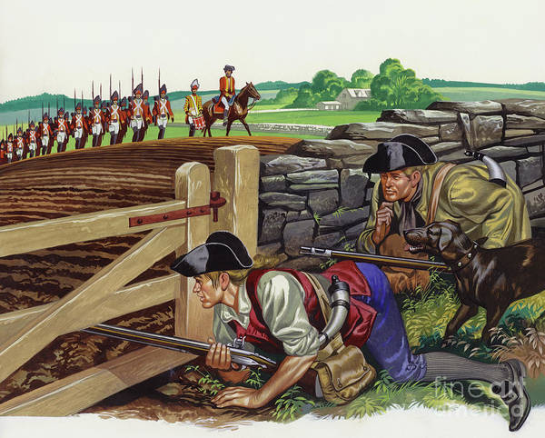 Marching Painting - Americans Stalking British Troops by Ron Embleton