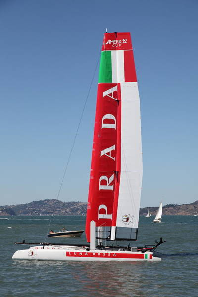 Racing Yacht Photograph - America's Cup In San Francisco - Italy Luna Rossa Paranha Sailboat - 5d18216 by Wingsdomain Art and Photography