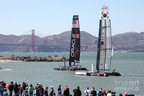 America's Cup Racing Sailboats In The San Francisco Bay 5d18253 Art Print