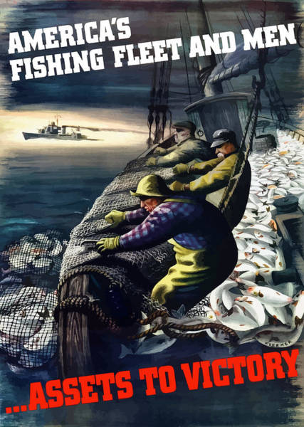World War Ii Painting - America's Fishing Fleet And Men  by War Is Hell Store