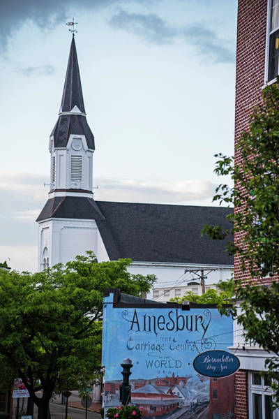 Photograph - Amesbury Massachusetts Church And Mural Downtown Amesbury by Toby McGuire