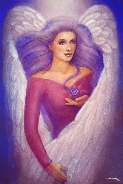 Wall Art - Painting - Amethyst Heart Angel by Sue Halstenberg