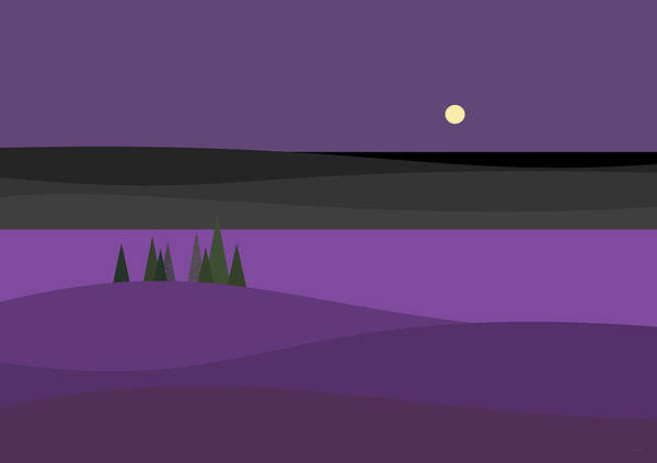 Semis Digital Art - Amethyst Night by Val Arie
