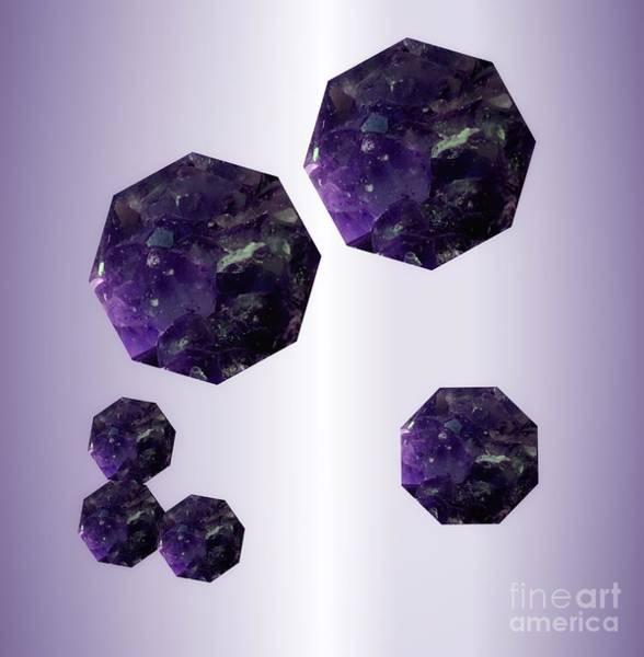 Mixed Media - Amethyst Octagons On Lavender  by Rachel Hannah