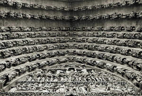 Wall Art - Photograph - Amiens Cathedral - Tympanum Of Central West Portal Bw by RicardMN Photography