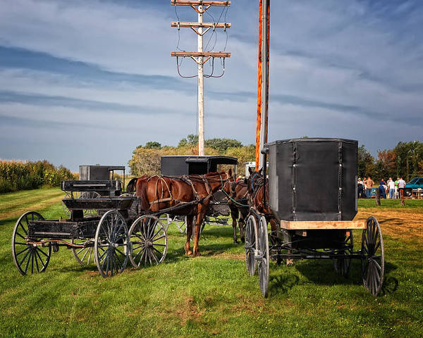 Amish At The Auction Art Print
