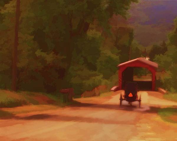 Digital Art - Amish Bridge by John Feiser