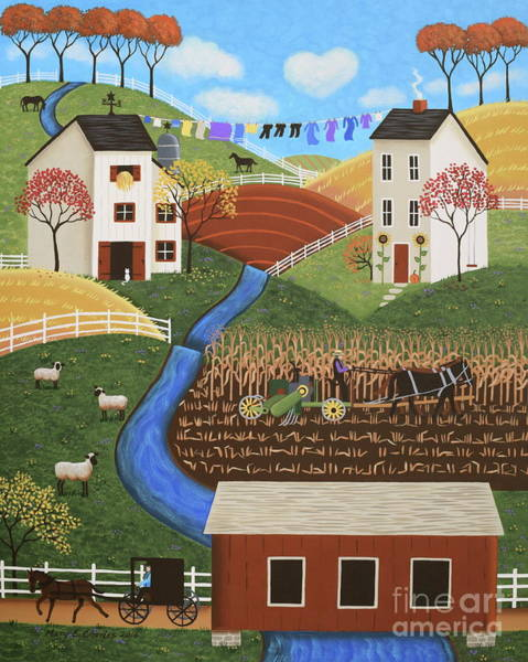 Clothesline Painting - Amish Country by Mary Charles