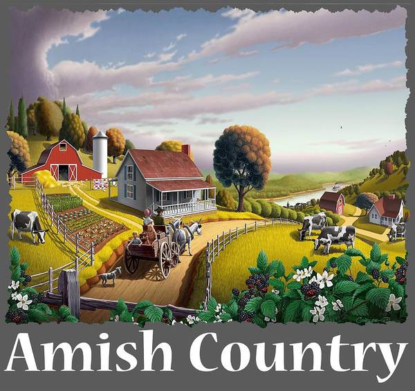 Alabama Hills Painting - Amish Country T Shirt - Appalachian Blackberry Patch Country Farm Landscape by Walt Curlee